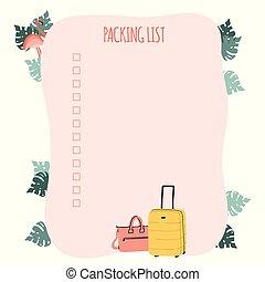trip., flamingo, planner., lista, leaves., eller, väska, emballage, resa, palm, förberedande, resväska, semester, resa