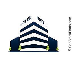 trip., gast, reizen, hotel, house., de bouw.