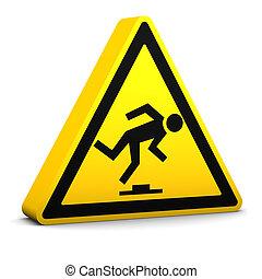 Trip Hazard - Trip hazard yellow sign on a white background...