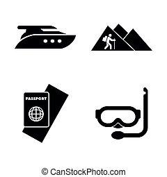 trip., iconen, eenvoudig, vakantie, verwant, avontuur, vector