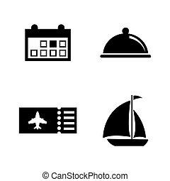 trip., iconen, eenvoudig, vakantie, verwant, reizen, vector