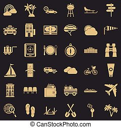 Trip icons set, simple style