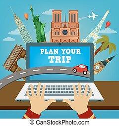 trip., industry., modernos, banner., viagem, hotel, travel., férias, technologies., plano, planning., tempo, seu, reserva
