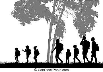 trip., mochilas, família, alcançar