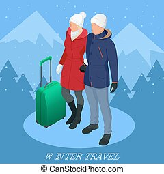 Trip on a winter vacation in the mountains. Winter travel concept. Christmas travel. Travel to World. Banner, Journey, illustration.