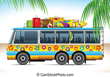 Trip on Bus - illustration of trip on bus with travel object...