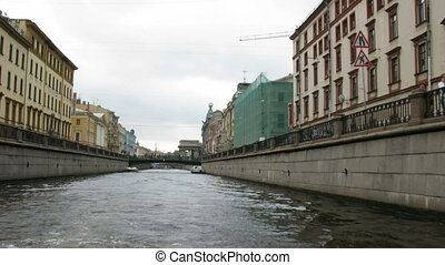 Trip on channel neva. Petersburg. Russia.