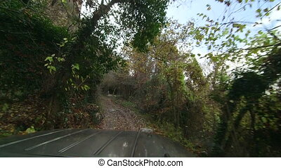 Trip on dirt track to Mangup-Kale Cave Town in Crimean...