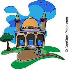 Trip To A Little Mosque - A mother and daughter walk...