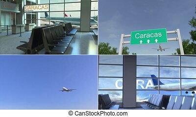 Trip to Caracas. Airplane arrives to Venezuela conceptual...
