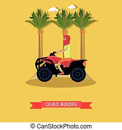 Trip to Egypt, quad biking concept vector flat illustration