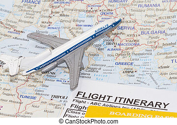 map of europe and toy airplane.