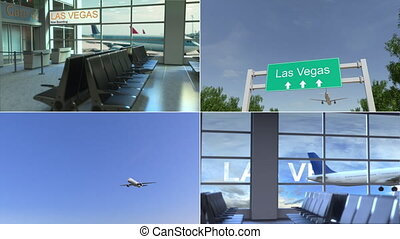 Trip to Las Vegas. Airplane arrives to the United States...