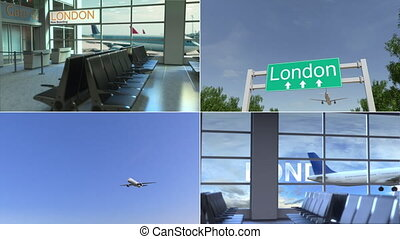 Trip to London. Airplane arrives to the United Kingdom conceptual montage animation