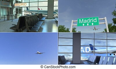 Trip to Madrid. Airplane arrives to Spain conceptual montage animation