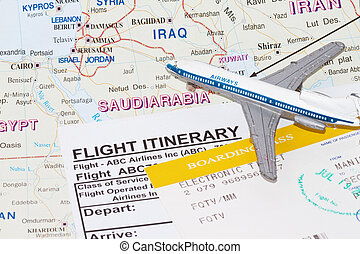 Trip to Saudi Arabia with plane and flight itinerary