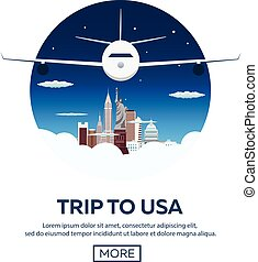Trip to USA. New York skyline. Travelling illustration....