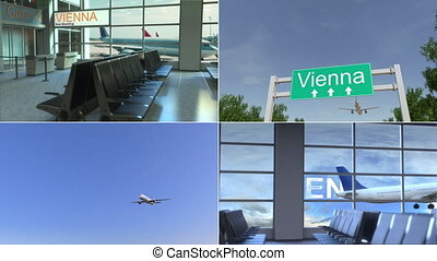 Trip to Vienna. Airplane arrives to Austria conceptual...
