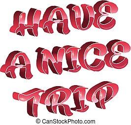 trip., typographie, vecteur, avoir, bannière, gentil