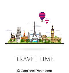 trip., viagem, monumento, world., concept., estrada