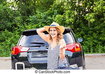 trip., zomer, vrouw, auto, concept., jonge, suitcases., vakantie, travel.