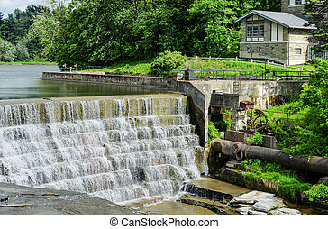 Triphammer Falls, Ithaca, New York. An urban waterfall in the middle of the Cornell University campus.