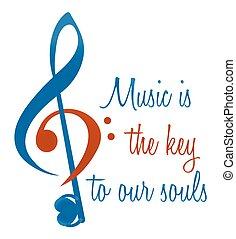 tripla, és, basszus, kulcs, elvont, cégtábla., zene, van, a, kulcs, fordíts, mienk, souls., vektor