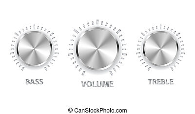 tripla, basszus, fém, hangerő, vektor, fej