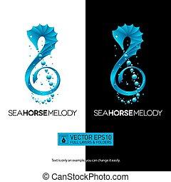 tripla, fogalom, seahorse, elszigetelt, ábra, vektor, zene, logo., clef.