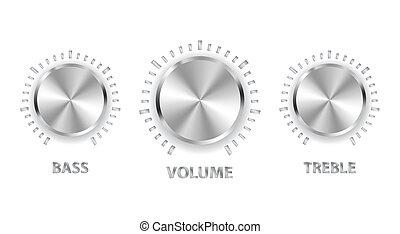 triple, bajo, metal, volumen, vector, perillas