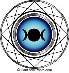 triple, déesse, symbole, lune