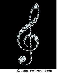 triple, diamante, clef.