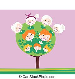 Family relationship tree. Grandmothers, grandfathesr, mother, father and childrens. Vector Illustration in vintage style.