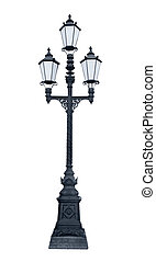 Triple lamppost - An isolated photo of an old lamppost in...