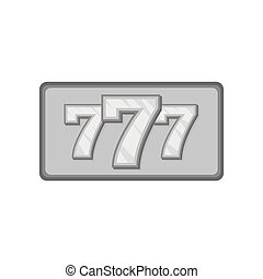 Triple lucky sevens icon, black monochrome style
