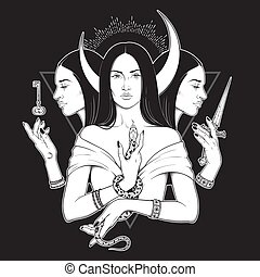 Triple lunar Goddess Hecate ancient Greek mythology hand drawn black and white isolated vector illustration. Blackwork, flash tattoo or print design