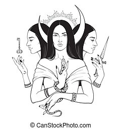 Goddess Hecate ancient Greek mythology - Triple lunar...