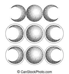 Triple moon magic and astronomy vecor tattoo symbol set