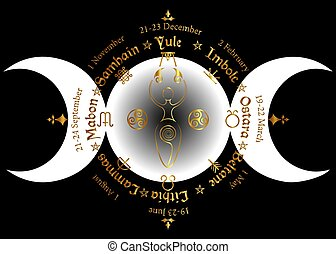 triple moon Wicca pagan goddess, gold wheel of the Year is ...