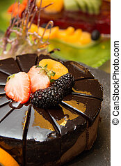 Triple mousse chocolate cake on buffet dessert
