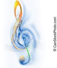 triple, musique, clef, -
