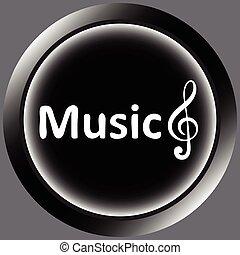 triple, musique, clef, noir, icône