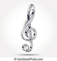 triple, musique, clef