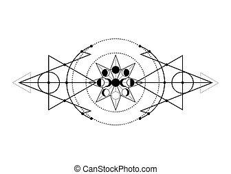 triple, mystique, phases, occultism., geometry., monochrome, blanc, cercles, triangles., moon., magie, énergie, sacré, dessin, ésotérique, illustration, wicca, fond, alchimie, isolé, vecteur, lune