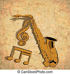 triple, note, musical, clef, fond, textural, saxophone