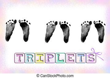 Triple Prints - Triplet baby footprints with pastel border...