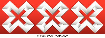 Triple red X letter, X shape. Red cross icon for negative,...