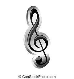 triple, signe, musique, soulagement, clef, icône