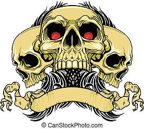 vector illustration of three red eyes skulls with ribbon