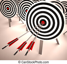 Triple Target Shows Accuracy, Aim And Skill - Triple Target...